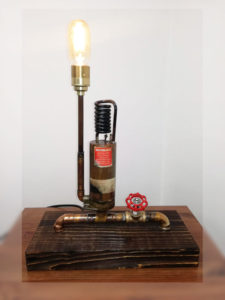 Table lamp with boiler tap mechanism